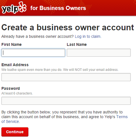 Claim Existing Yelp Business Page