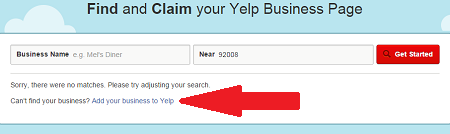 Add New Yelp Business Listing