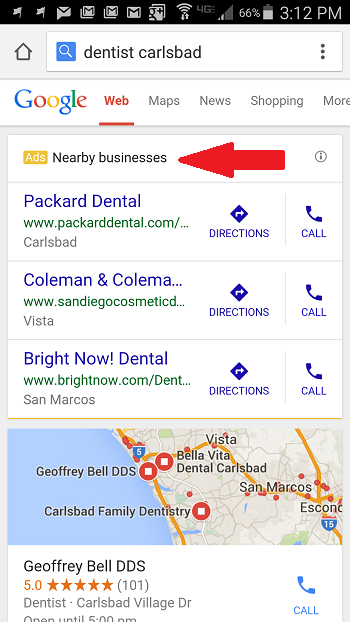 Google Mobile Ad Format for Dentists