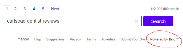 Yahoo Organic Results Come From Bing