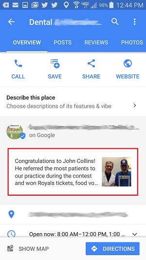 Google My Business Posts for Dentists on Google Maps Mobile