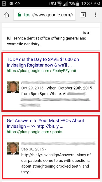 Google Plus posts for dentists rank