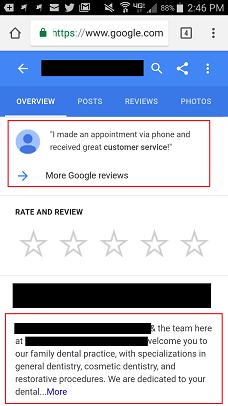 Google My Business Dental Listing Mobile
